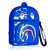Lupct Case for Airpods 1&2, Cartoon Cute Funny Cool Silicone, Fun Fashion Trendy 3D Kawaii Design for Men Boys Girls Air pods Cases Unique Hypebeast Stylish Cover for Airpod 2/1 [Blue Shark Bag]