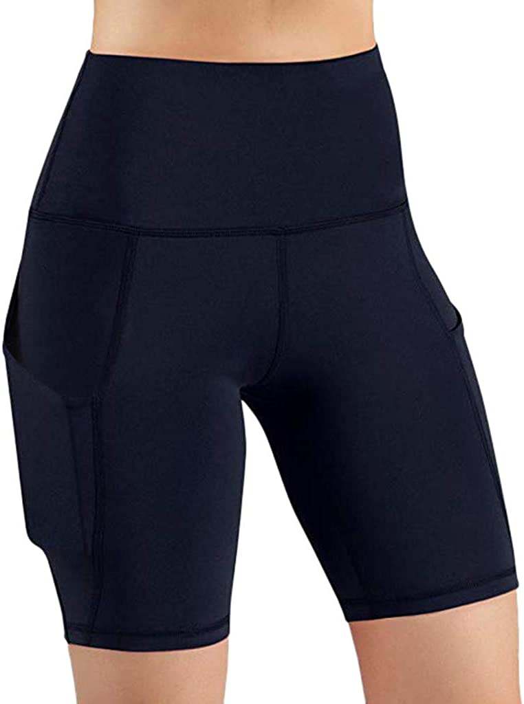 Fastbot women's Shorts Short Leggings Pants with Pocket Yoga Workout Running Athletic Gym High Waist Lace Stretch Active Navy
