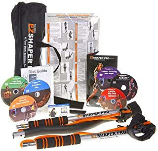 Tony Little EZSHAPER PRO - Total Body Workout Exercise Bar -with 6 Personal Trainer Workout DVDs - 2 Sets of Resistance Bands