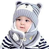 Hihey Enfants Chapeau Hiver Chaud Chapeau Tricoté Bonnet Chapeau Capuche Tricoté Chapeaux Hiver Chapeau Earflap (6-24 Mois)