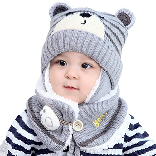 Bebe Niño Niña Sombrero y Bufanda Otoño Invierno Primavera Gorro Bebe Calentar Gorro Bufanda Conjunto Sombrero