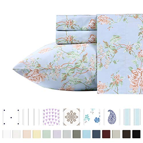 Premium 400-Thread-Count 100% Natural Cotton Sheets for Bed - 3-Piece Light Blue Floral Antique Rose Twin XL Sheet Set Long-Staple Combed Cotton Printed Bed Sheet Breathable Cotton Sateen Weave Sheets
