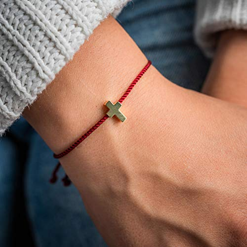 Made by Nami Filigranes Kordel-Armband mit Anhänger - Freundschaftsarmbänder Geburtstagsgeschenk beste Freundin - Größenverstellbar - Glücksbringer Armband (Rot Kreuz-Armband)