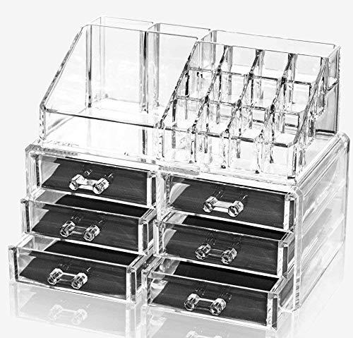 Oxid7® Organizer für Kosmetik Acryl | Aufbewahrungsbox für Make Up und Schmuck | Schmuckkästchen | Schubladenbox Schminke - 27,8x24x15 cm - 16 Fächer mit 6 Schubladen