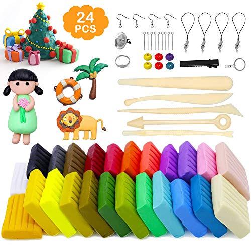 mopalwin Polymer Clay-24 Farben Modellierung Ton Nontoxic Weiches DIY-Backset aus Ton mit Werkzeug und Aufbewahrungsbox Kinder