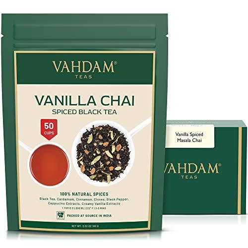 VAHDAM, Masala Chai con sabor a vainilla | 200 gramos (100 t