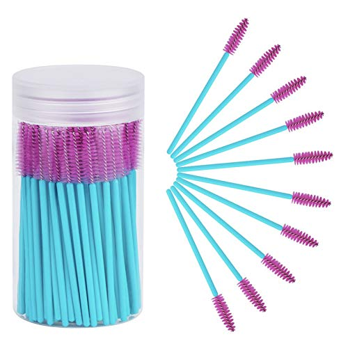 Cuttte 100pcs Disposable Mascara Brushes Wands with Container, Eyelash Brush Spoolie Brushes for Eyelash Extensions and Mascara Use