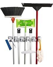 KINGTOP Bezemhouder dweilhouder universele gereedschapshouder muurbeugel garage voor bezem, mop en tuingereedschap