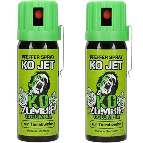 Columbia KO Jet Verteidigungsspray 2x im Set KO Zombie Pfefferspray mit Gürtelclip je 50 ml Tier Abwehrspray