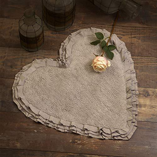 Tapis de Bain Cœur, Tapis à Volant, Tapis pour Salle de Bain en Forme de Cœur Shabby Chic et Romantique - Trois Volants - 65x68 - Taupe - 100% Coton