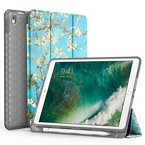 "SWEES Compatible with iPad Air (3rd Gen) 10.5"" 2019 / iPad Pro 10.5 2017 Case, Slim Full Body Protective Smart Cover Leather Case Shockproof with Stand Built-in Pencil Holder (S - Blossom)"