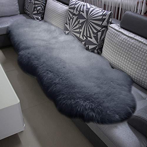 WOLTU TP3513hgr-L Öko Lammfell Schaffell Teppich Bettvorleger Sofa Matte echtes Naturfell Longhair Hellgrau 180-210cm