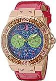 Guess Mujer u0775l4deportivo rosa tono dorado acero inoxidable reloj con multifunción Dial y rosa correa hebilla