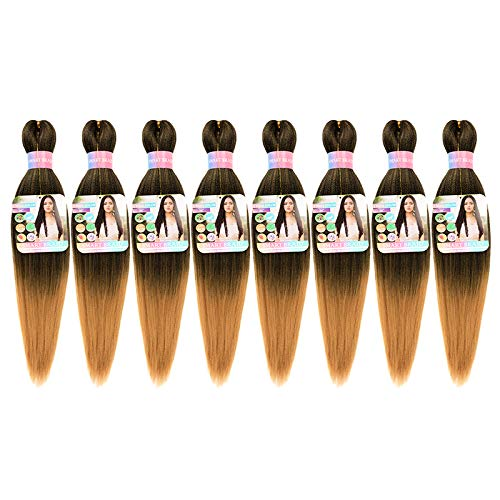 SMART BRAID Pre-stretched Braiding Hair Easy Braid Synthetic Braids Hair Extensions Yaki Texture Box Braid Hair 20 Inch for Women (8pc, 1b/27)