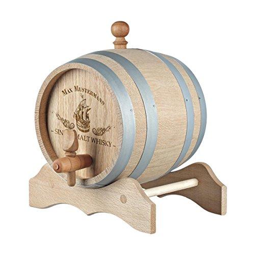 polar-effekt 5 Liter Holzfass Personalisiert mit Namens-Gravur - Originelles Geschenk - Eichen-Fass für Whisky oder Wein - Geschenkidee für Männer - Motiv Motiv Sailing
