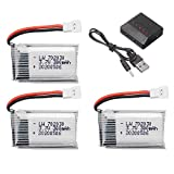 ZZBAT 3.7V 300mAH Lipo Battery and Charger for U816 U830 F180 E55 FQ777 FQ17W for H107 for X11C FY530 RC Drone Battery-3pcs with 5in1