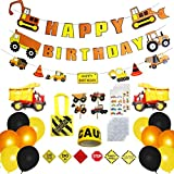 Construction Birthday Party Supplies Set by BNY Gifts, Birthday Decorations for Boys, Tractor Birthday Decorations, 103 pack, 30 Balloons, Traffic Signs, Mini Tote bags, Construction tape, Sticker Tattoos, and more