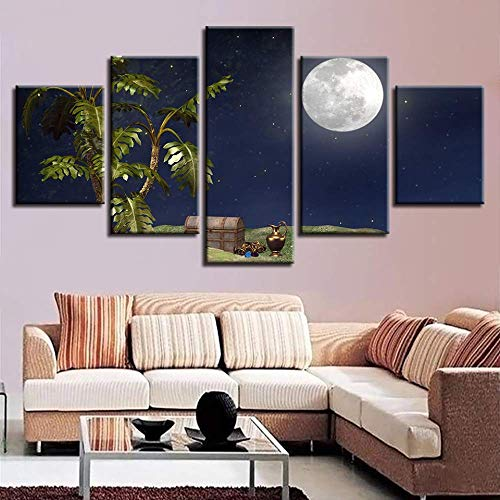LIBIHUA Wandkunst Hd Drucke Wohnkultur Wohnzimmer 5 Stücke Bäume Schatzkiste Mond Nachtszene Bilder Poster Modulare Leinwand Gemälde 200x100cm Rahmen