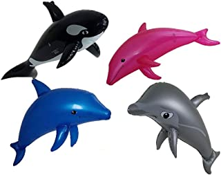 Imprints Plus Dolphins Pool and Beach Toys Bundle with 3 Inflatable Dolphins 1 Whale and 1 Non-Negotiable Million Dollar Bill 5 Piece Bundle (Ocean 101)