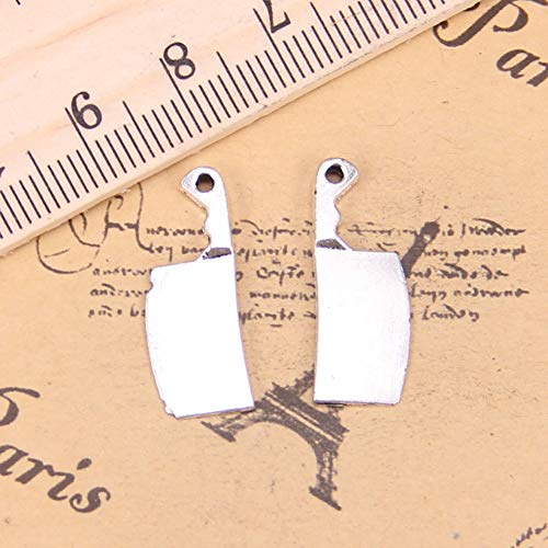 LKJHG 24 Piezas encantos Cuchillo de Cocina Cuchillo de Carne 23x9mm Colgantes Antiguos, joyería de Plata, Bricolaje para Collar de Pulsera