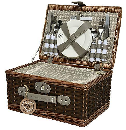 Picknickkorb für 4 Personen Weidenkorb Braun Picknickkoffer Picknickset 39x28cm
