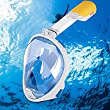 Glaceon Snorkel Mask, Swimming Scuba Diving, Full Snorkeling Face Mask Easy and Adjustable 180 ° Panoramic View, Anti-Fog, Anti-Leak Safety Diving with Detachable Camera Mount for Adult and Youth