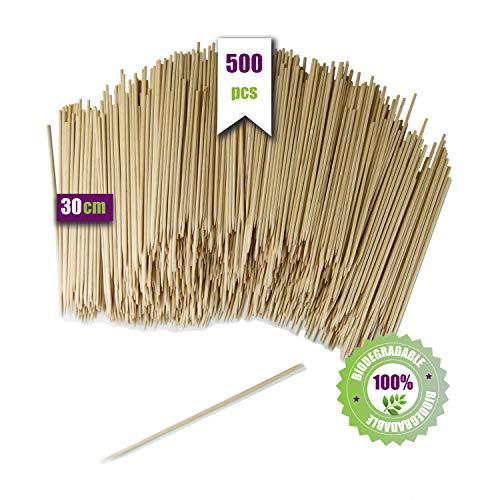 GoBeTree 500 houten spiesen, 30 cm Ø 3 mm, grillspiesen en staafjes van bamboehout, voor barbecue, grill, vlees, groenten, houten stokken voor knutselwerk.
