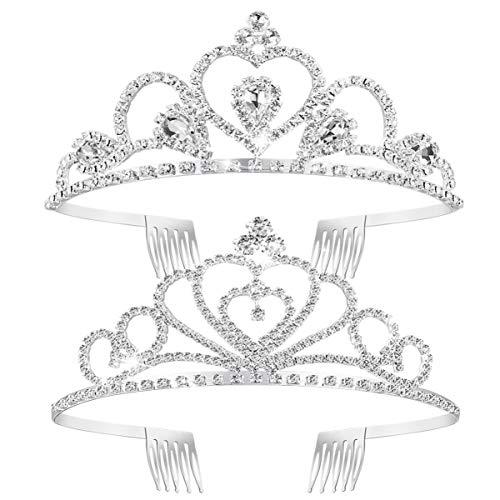 Frcolor Tiara Kristallkrone, Tiara Braut Kopfbedeckungen Strass Kronen Prinzessin KroneTiara Stirnband