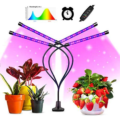 Pflanzenlampe LED,shenkey Vier Kopf 80 LED Pflanze wachsen Lichter für Zimmerpflanzen mit rot-blauem Spektrum, 3/9/12H intelligente Timer, einstellbarer Schwanenhals, 10 dimmbare Stufen