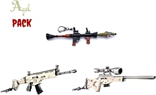 Agel (3 PACK) guns SCAR Rifle AWP Sniper Shark Rocket RPG weapons Toys Model Keychain Alloy Weapons Kids Toys Collection