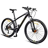Xiaoyue Hardtail Mountainbike, 27,5 Zoll Big Wheels Mountain Trail Bike, Carbonrahmen Mens-Frauen-All Terrain Mountain Bike, Gold, 30 Drehzahl lalay (Color : Gold, Size : 30 Speed)