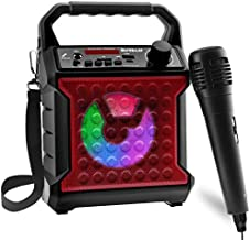 Risebass Portable Bluetooth Speaker with Microphone Set - Home Karaoke Machine and PA System for Kids and Adults with Party Lights - Rechargeable USB Speaker Set with FM Radio, SD/TF Card and AUX