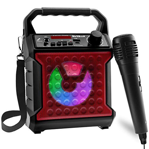 Risebass Portable Karaoke Machine with Microphone - Home Karaoke System with Party Lights for Kids and Adults - Rechargeable USB Speaker Set with FM Radio, SD/TF Card Support, and AUX-In (Red)