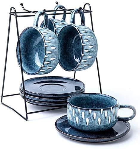 YUYANDE Copas de café expreso con platillos con Taza de Taza Copas de Capuchino Conjunto de 4, Home Retro Taza Roja Taza de té Sistema de Regalo de Boda Conjuntos de vajilla (Tamaño: 9 Piezas)