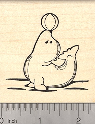Sea Lion Rubber Stamp, Eared Seal, Balancing Ball on Nose