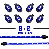 2nd Gen Single Color BLUE 8 POD 2 STRIP 60 LED Universal Motorcycle Accent Neon Underglow Light Kit