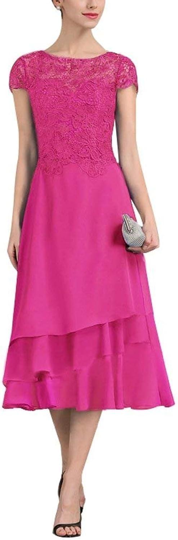 DressyMe Women's TeaLength Wedding Dress ALine Cap Sleevs Party Dress Lace