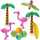 R HORSE 10 Pcs Inflatable Palm Tree Flamingo Banana Beach Ball Parrot Beach Pool Toys for Tropical Hawaiian Luau Party Summer Pool Beach Party Decorations