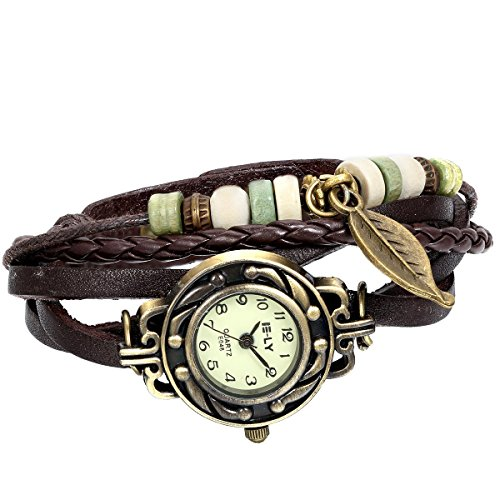 JewelryWe Women Quartz Bracelet Watch Fashion Weave Wrap around Leather Wrist Watch for Mothers Day Gift