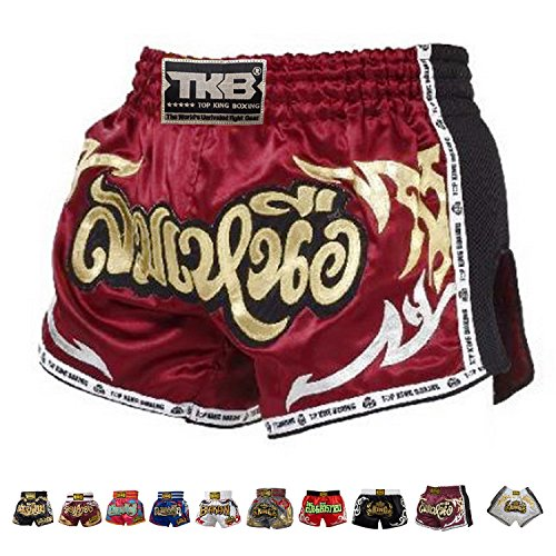 Top King Boxing Muay Thai Shorts Normal or Retro Style Size S, M, L, XL, 3L, 4L (Retro Red 2 L)