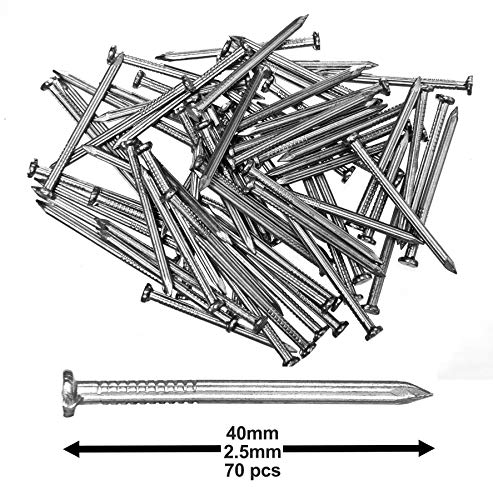 "Pack of 70 Hardened Ribbed Steel Masonry Nails 2.5x40mm (1x1""-9/16"") for Brick, Blocks, Skirting Boards, Battens and All Other Masonry"