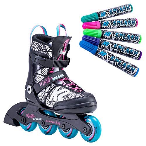 K2 Inline Skates MARLEE SPLASH Für Mädchen Mit K2 Softboot, Black - Pink - Splash, 30E0222