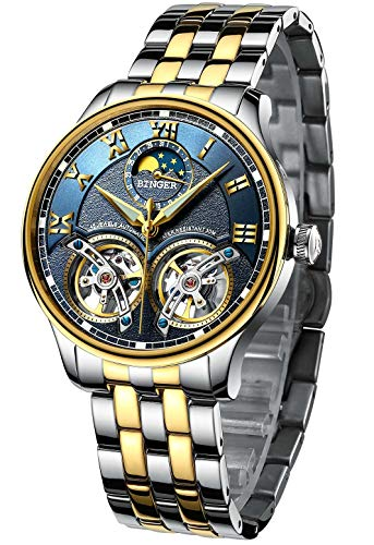 B BINGER Skelett Herren Automatik Uhr Mechanische Analog Leuchtend mit Stahlband(Gold Blau)