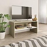 vidaXL TV Schrank Lowboard Couchtisch Fernsehschrank Fernsehtisch Sofatisch TV Möbel Sideboard Weiß Sonoma-Eiche 80x40x40cm Spanplatte
