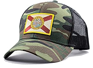 Homeland Tees Men's Florida Flag Patch Army Camo Trucker Hat - Army Camo