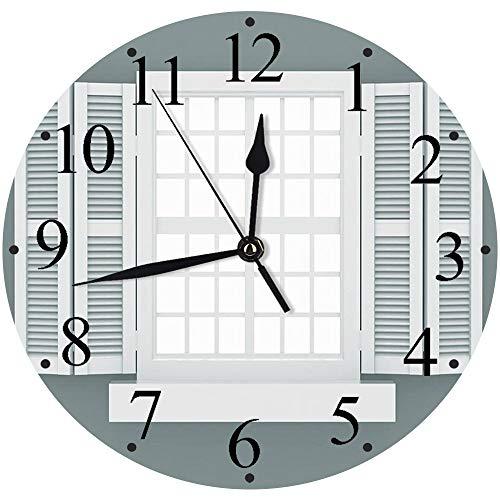 Yaoni Silencioso Wall Clock Decoración de hogar de Reloj de Redondo,Persianas Decoración, Ilustración gráfica de contraventanas de Madera Estilo Tradicional An,para Hogar, Sala de Estar, el Au