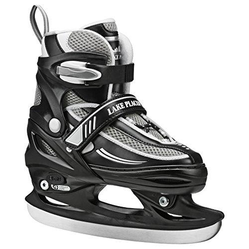 Lake Placid LP104BS Summit Boys Adjustable Ice Skate, Black/White, Small Junior/10-13