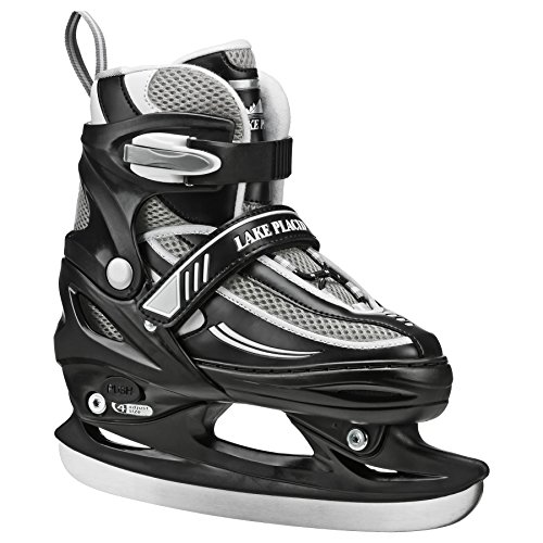 Lake Placid Summit Boys Adjustable Ice Skate, Black/White, Large/5-8