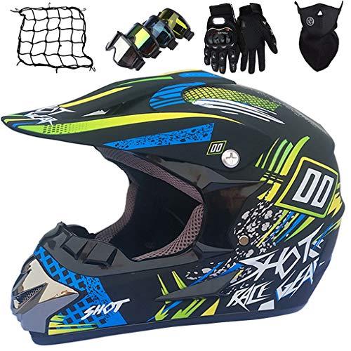 Casco de Motocross Niños, Casco de Moto de Cross-Country Jóvenes y Adultos Set con Guantes/Gafas/Máscara/Red de Bungy, para Bicicleta de Tierra Eléctrica BMX MTB ATV