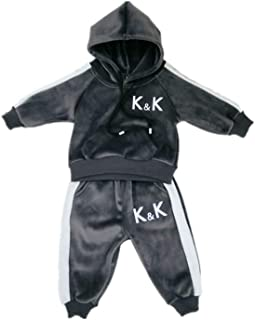 Xifamniy Newborn Boys Long Sleeve Winter Flannel Hoodie and Pants Set
